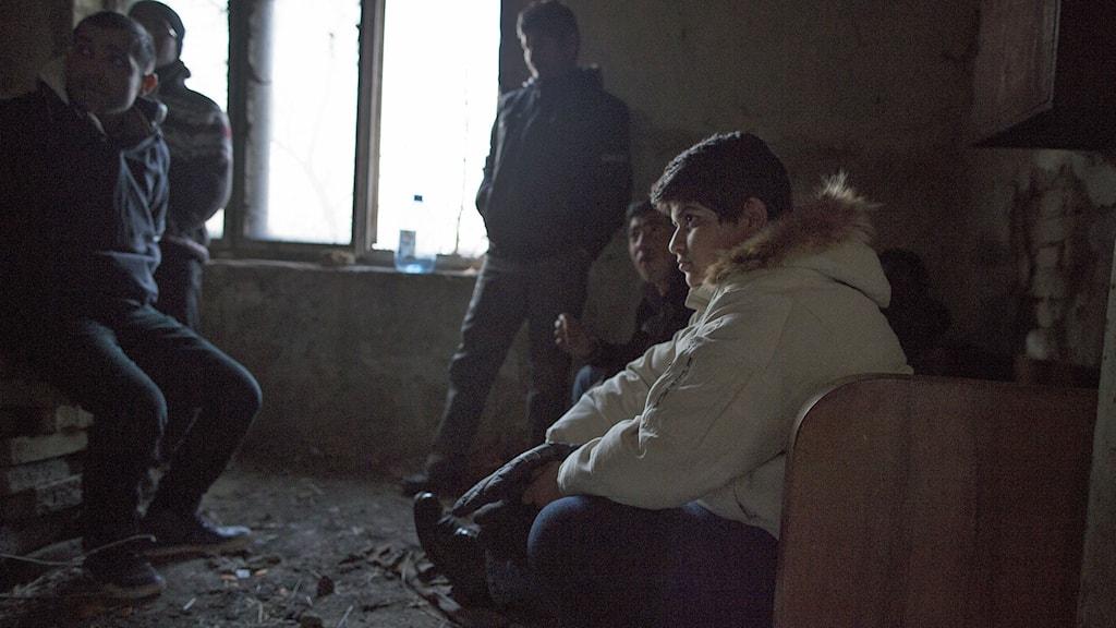 12-åriga Ali väntar med sin pappa i ett ödehus i norra Serbien på att försöka korsa gränsen till Ungern. Han drömmer om en framtid i Sverige. Foto: Johan Persson.
