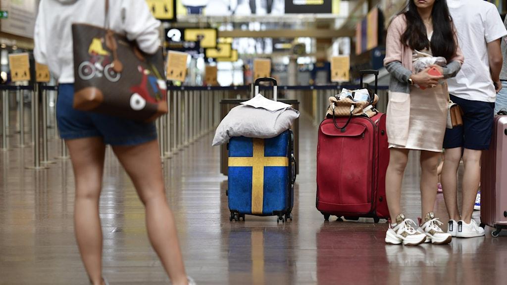 Charterresenärer vid incheckningen på Arlanda flygplats