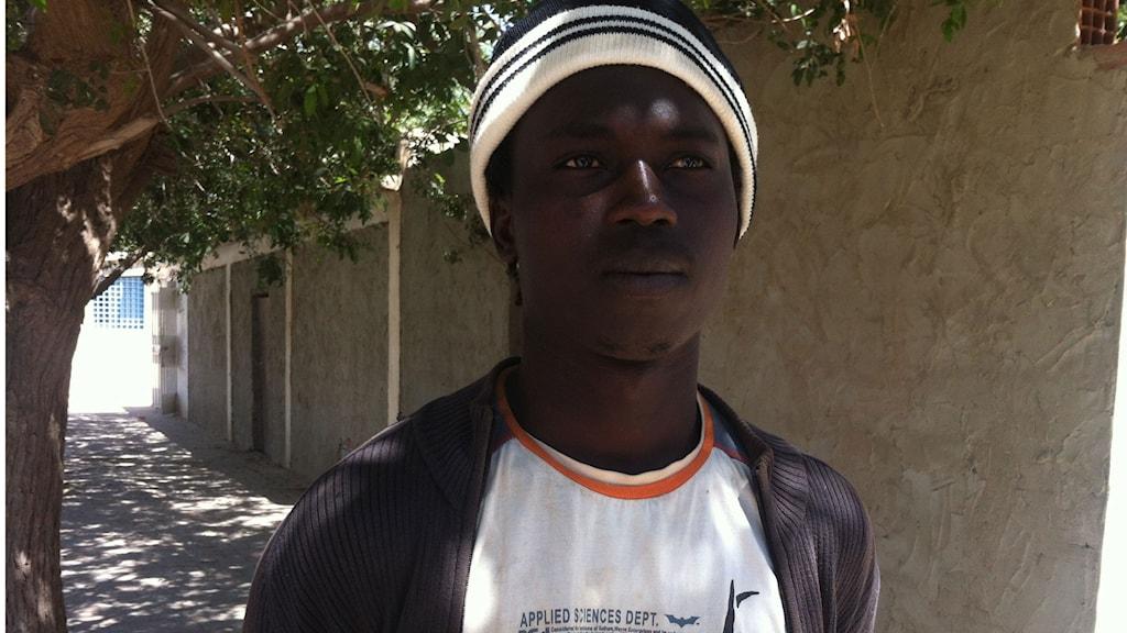 Musa Njie, unge mannen från Gambia. Foto: Fanny Härgestam/Sveriges Radio