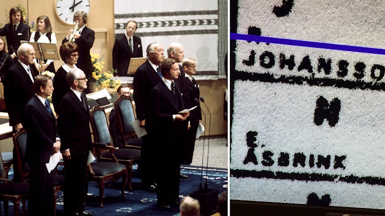 """Kungen och statsministern i riksdagen 1975. """"E. Åsbrink"""" skrivet vid en nejröst i riksdagen. Foto: Janerik Henriksson/TT samt Bengt Hansell/Sveriges Radio."""