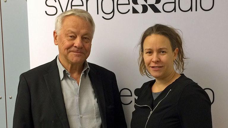 Bengt Westerberg och Maria Wetterstrand i P1-morgons studio. Foto: Helena Ulander/Sveriges Radio.
