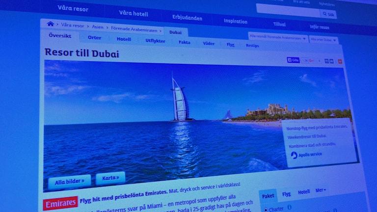 Swedwatch rapport kritiserar resebolag för Dubairesor. Foto: Sveriges Radio.