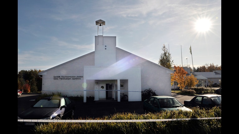 Tio personer dödades i skolskjuting i Kauhajoki 2008. Skolan där skottdramat utspelade sig. Foto: Lars Pehrson/SvD/SCANPIX