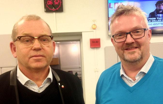 Johan Lindholm, ordförande Byggnads och Mats Åkerlind, Vice VD, förhandlinschef, Chef BI Arbetsmarknad. Foto: Ausi Petrelius/Sveriges Radio