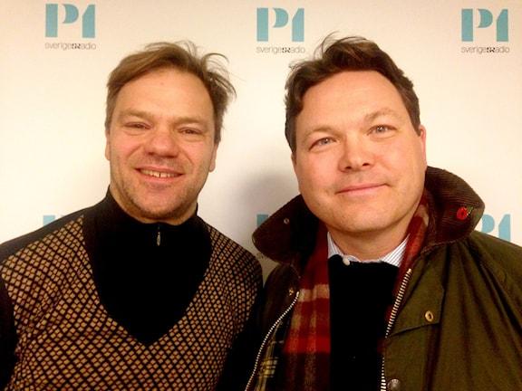 Johan Rydqvist, forskare mellanösterprogrammet FOI och Charles Sulocki, lärare och doktorand Försvarashögskolan. Foto: Ausi Petrelius/Sveriges Radio