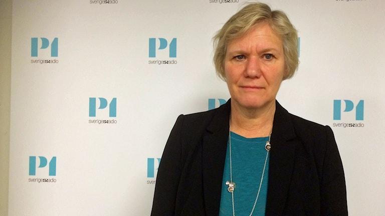 Ann-Marie begler, Försäkringskassans generaldirektör, hos P1-morgon. Foto: Helena Ulander/Sveriges Radio.