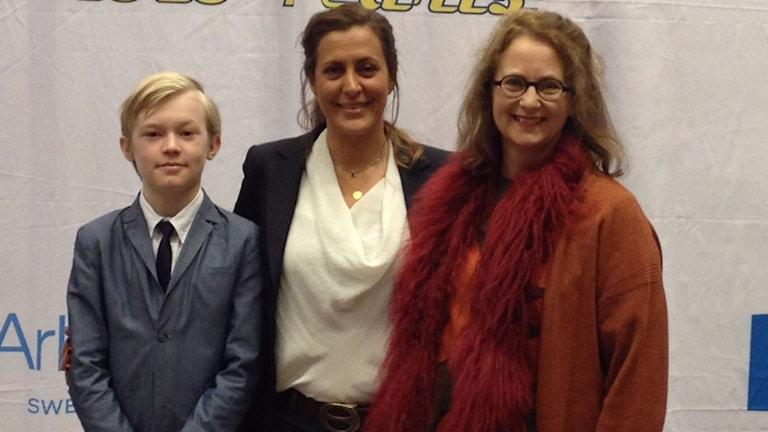 Melvin Carlberg, Marjan Nourzad och Maria Perers. Foto: Helene Preutz/Sveriges Radio.