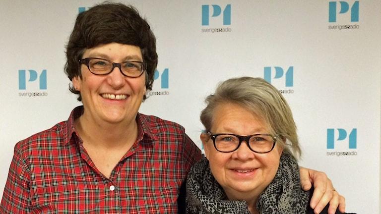 Helle Klein, chefredaktör för Dagens Arbete och Svensk Damtidnings chefredaktör, Karin Lennmor. Foto: Helena Ulander/Sveriges Radio.