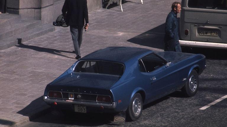 Den Ford Mustang som erbjöds rånarna. Foto: SVT BILD.