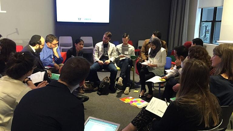 Konferenslokalen i New York där Techfugees träffades en februaridag 2016. FOTO: Åsa Secher/Sveriges Radio.