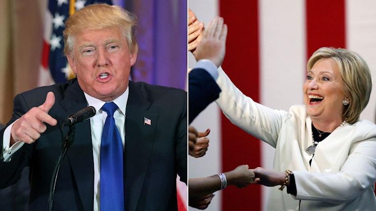 Donald Trump under sitt tal efter supertisdagen. Hillary Clinton hälsar på anhängare.