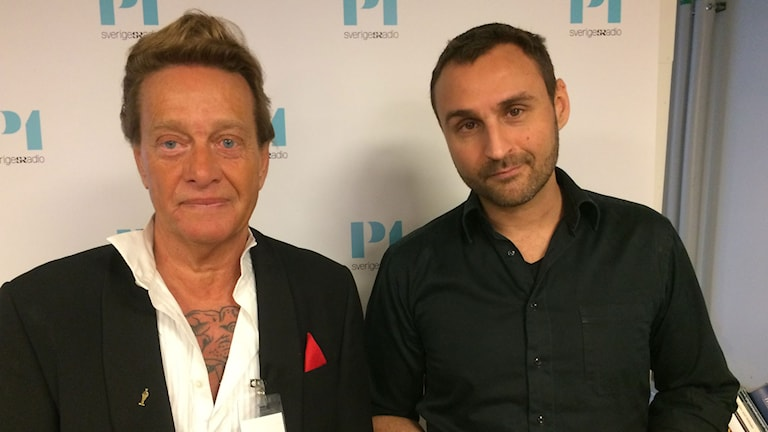 Björn Ranelid (tv) och programledare Johar Bendjelloul (th).
