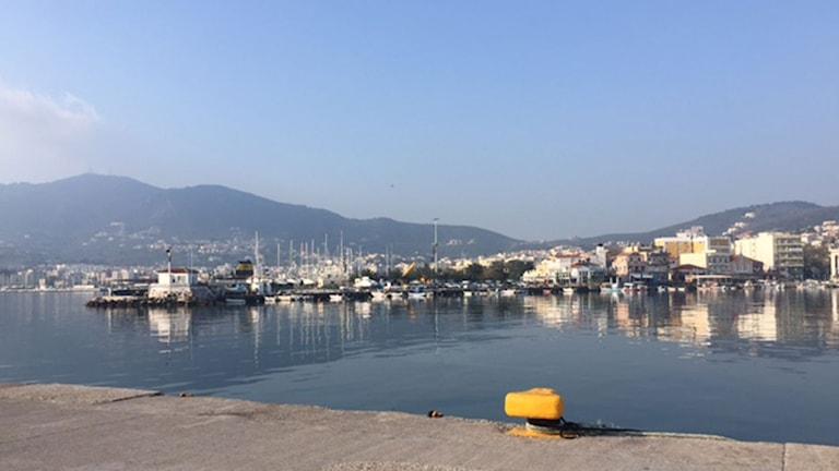 Mytilenes hamn en måndag morgon. Foto: Alice Petrén/Sveriges Radio