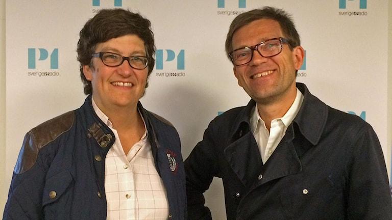 Helle Klein, chefredaktör på Dagens Arbete och Mattias Goldmann, vd på tankesmedjan Fores.