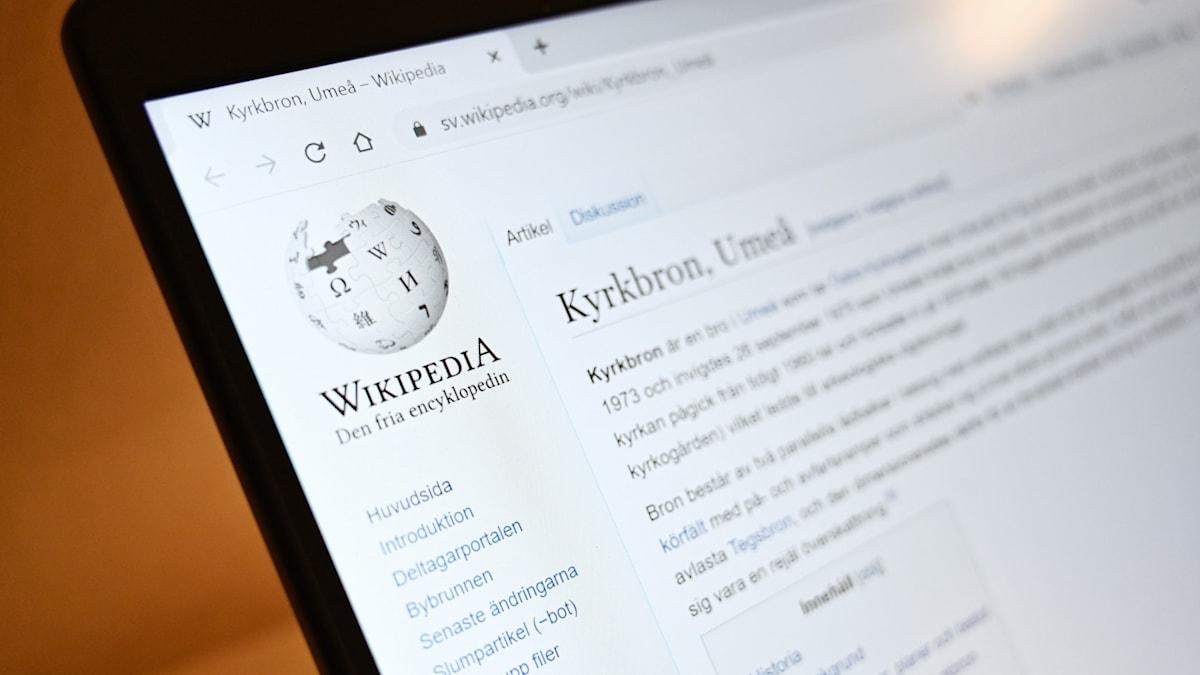 Bild av datorskärm som har hemsidan Wikipedia öppen.