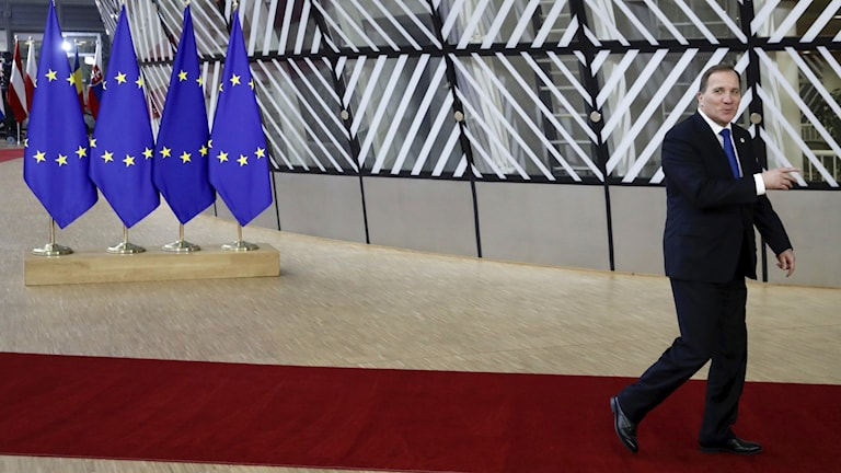 Sveriges statsminister Stefan Löfven i Bryssel för EU-toppmötet.