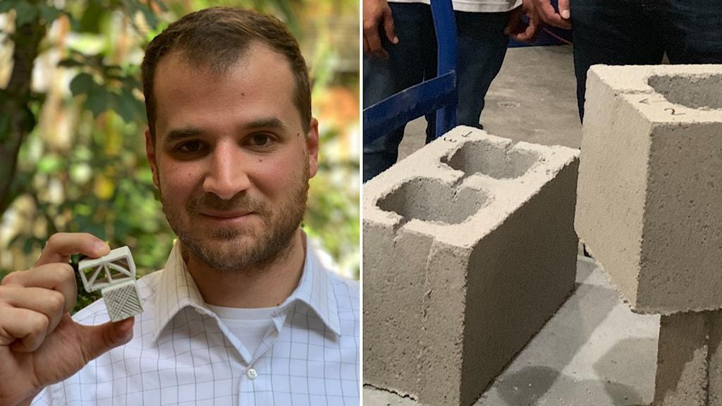 Delad bild: Man håller upp några små tändsticksasksstora betongbitar, stora betongblock.