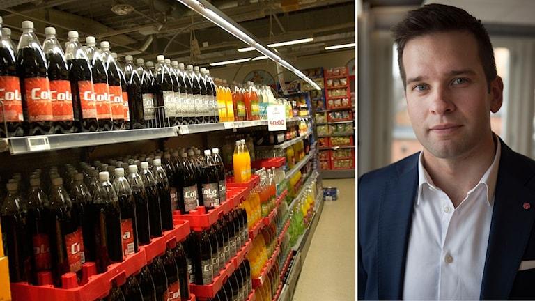 Läskedrycker och folhälsominister Gabriel Wikström (S).