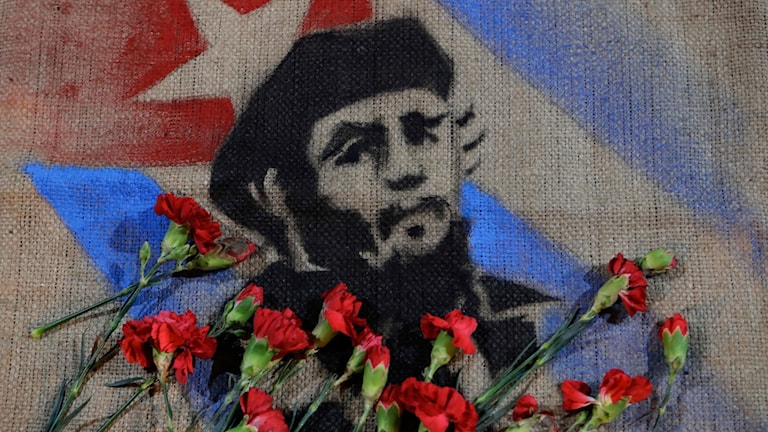 Nejlikor över bild av Fidel Castro och kubanska flaggan.