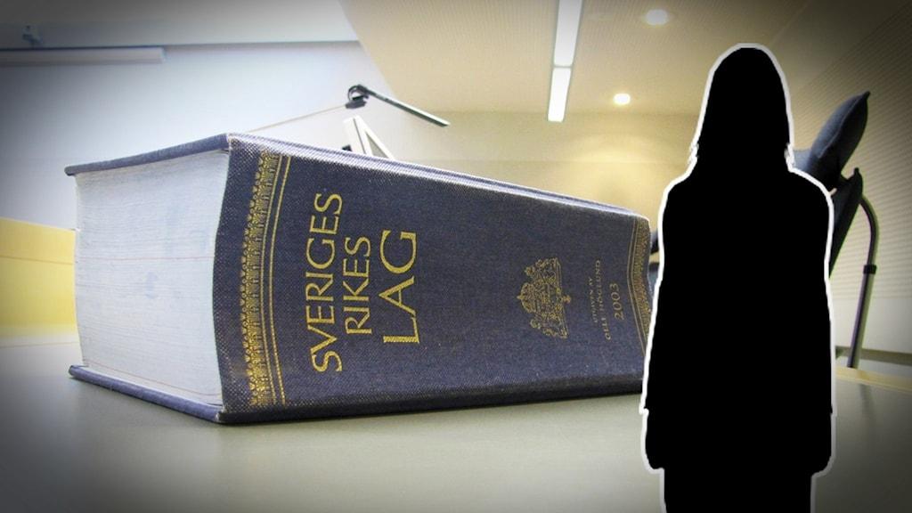 En siluett av en kvinna framför en lagbok.
