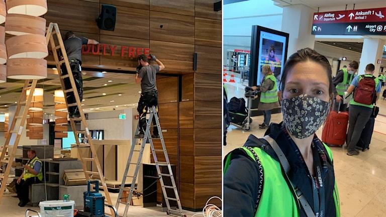 Byggarbetare arbetar med en butik. Kvinna i munskydd och reflexväst.