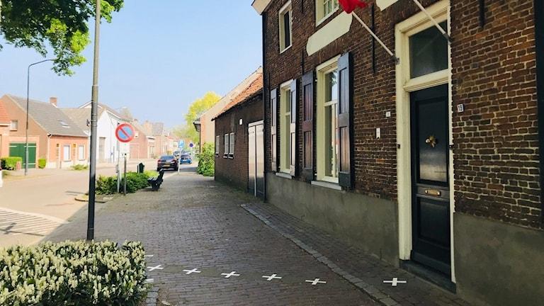 Fasad och gräns i Baarle Hertog, Nederländerna och Belgien.