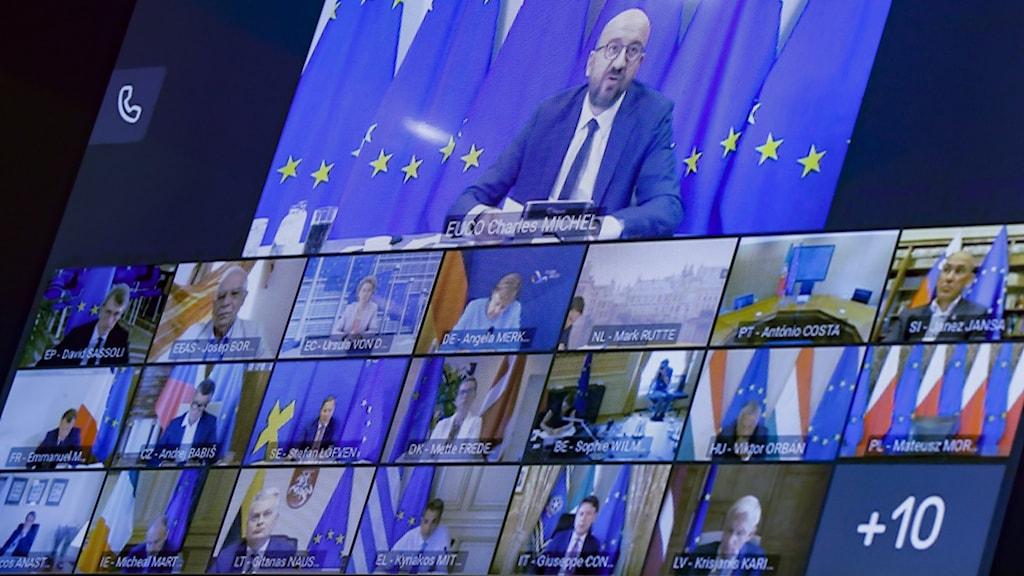 Europeiska rådets ordförande Charles Michel som talar med EU ledare under videokonferens
