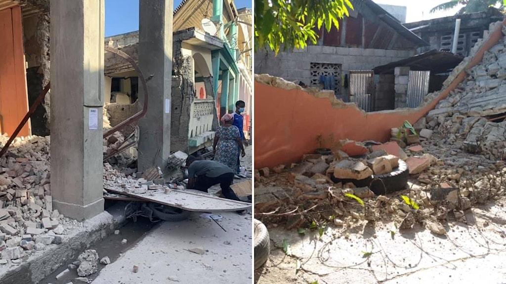 Hus och byggnader med raserade väggar efter jordbävningen i Haiti.