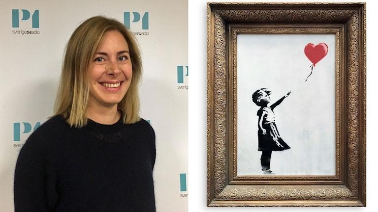 Louise Wrede från Bukowskis och den aktuella tavlan av Banksy 'Girl with Balloon'.