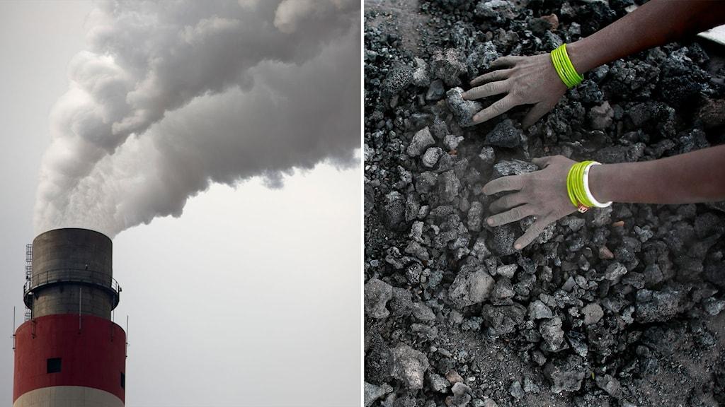 Rök från skorsten i kolkraftverk och bild på händer som plockar kol