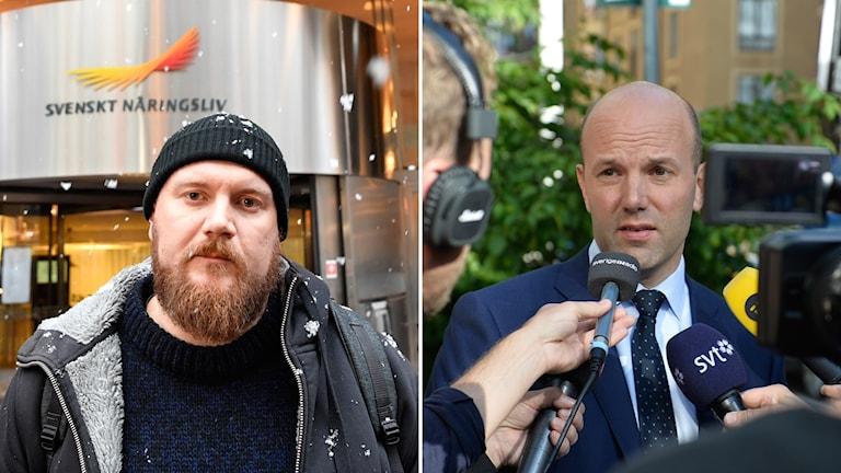 Erik Helgesson, förbundsledamot i Hamnarbetareförbundet, och Mattias Dahl, VD på Transportföretagen.