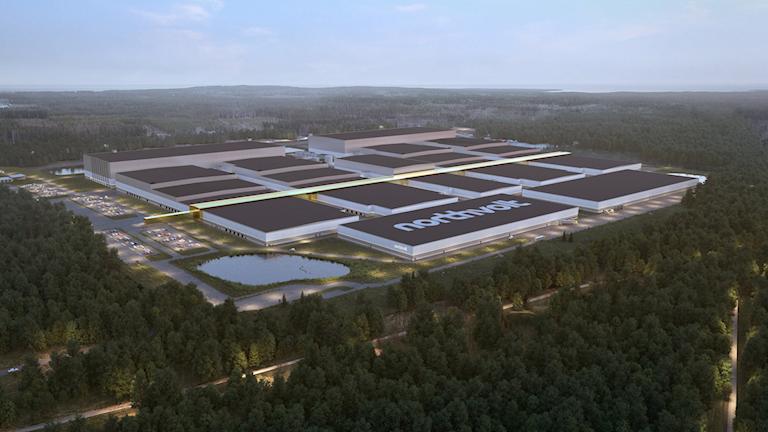 En datormodell visar hur Northvolts batterifabrik i Skellefteå planeras att se ut.