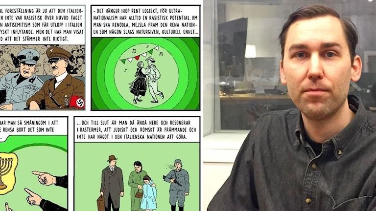bild från en seriebok och en man i radiostudio