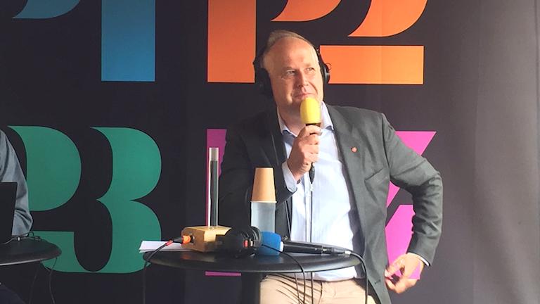 Jonas Sjöstedt på Sveriges Radios scen i Almedalen.
