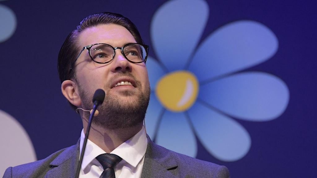 Sverigedemokraternas partiledare Jimmie Åkesson under partiets landsdagar i Örebro.