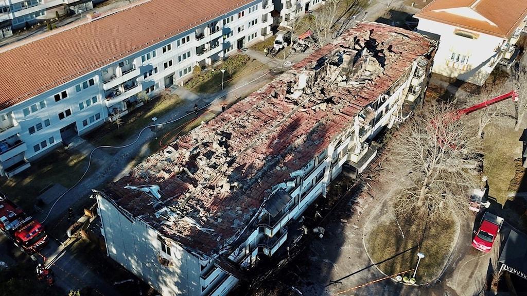 Stor på förödelse på Fredriksberg, Råby efter nattens brand.
