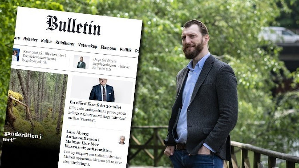Ett porträtt på nättidningen Bulletins chefredaktör Ivar Arpi, infällt i bilden är en skärmdump av Bulletins startsida.