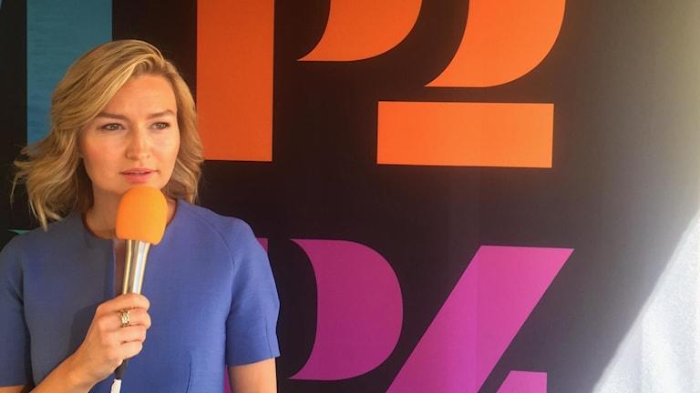 Ebba Busch Thor (KD) frågas ut i Almedalen 2019. Programledare: Cecilia Bodström
