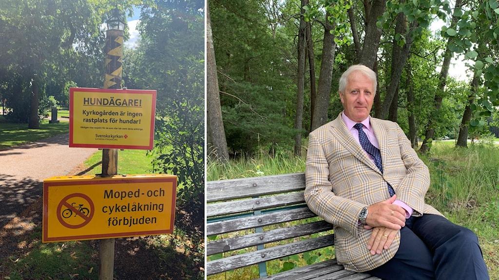 Till vänster: Skyltar på en kyrkogård. Till höger: Man i beige kavaj på en bänk.