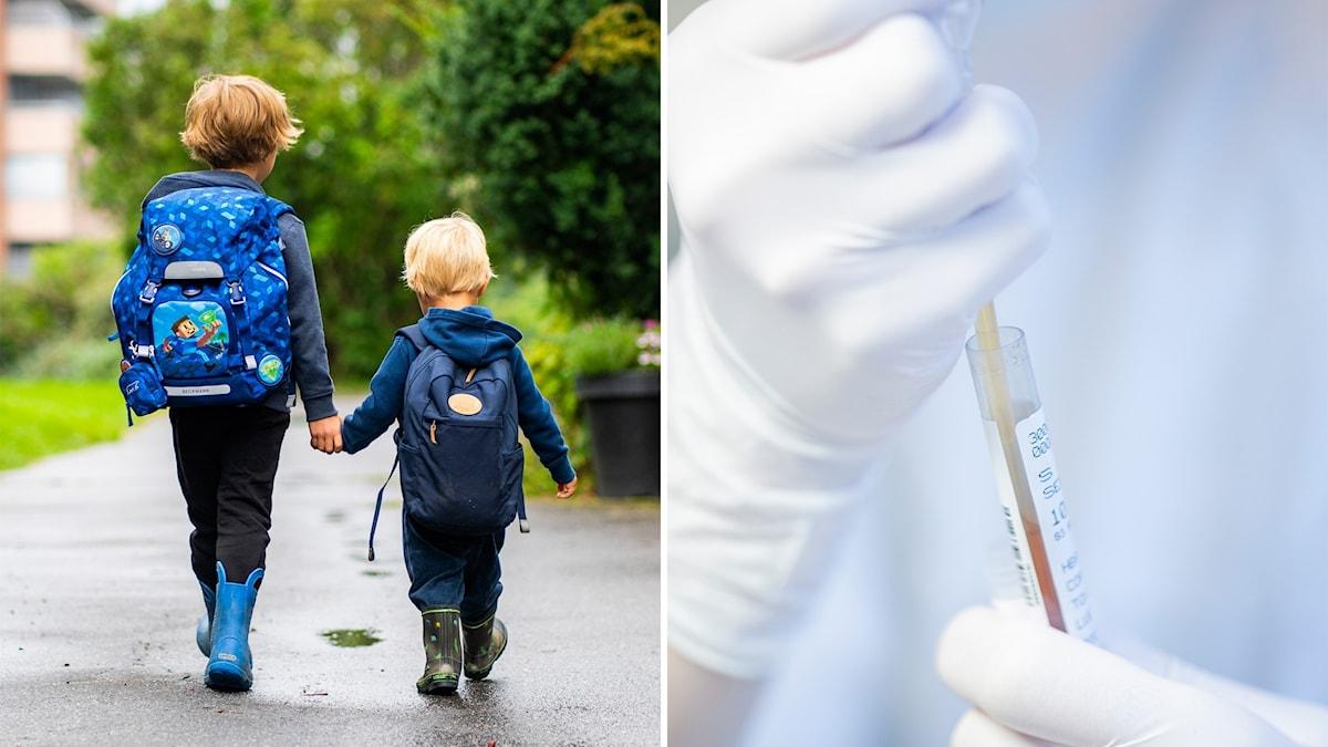Barn som går hand i hand och ett covidtest.