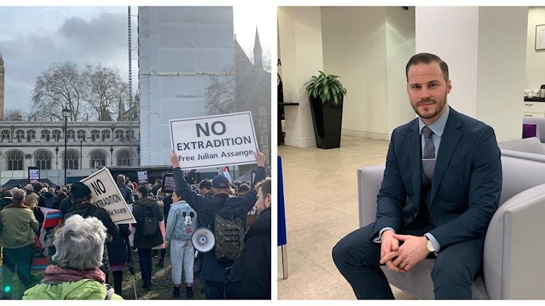 Bilden är ett collage med demonstrationer som handlar om Assange-rättegången och utlämningsexperten Anthony Hanratty, som Ekots reporter Daniel Alling har träffat.