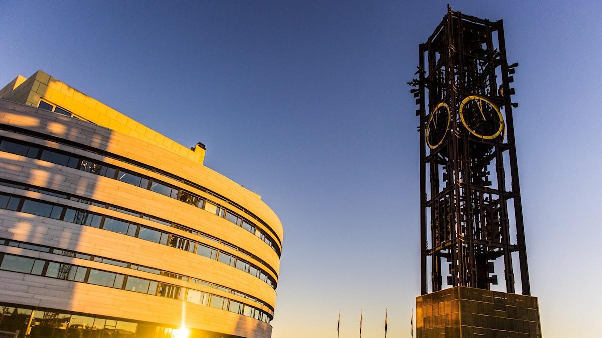 Kiruna stadshus i soluppgång