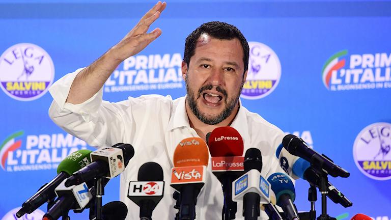 Matteo Salvini på en presskonferens efter EU-valet.