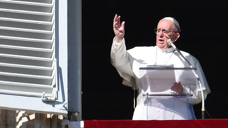 Påve Franciskus håller tal i Rom.