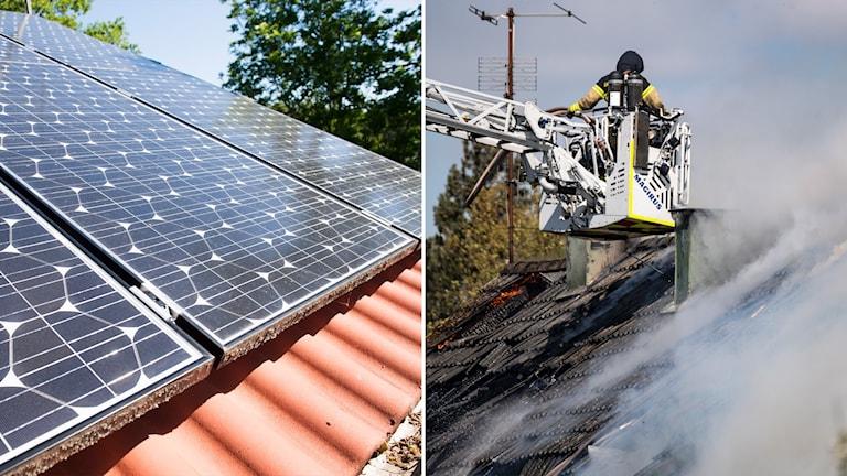 Delad bild: Solceller på hustak, räddningstjänst som släcker en husbrand.