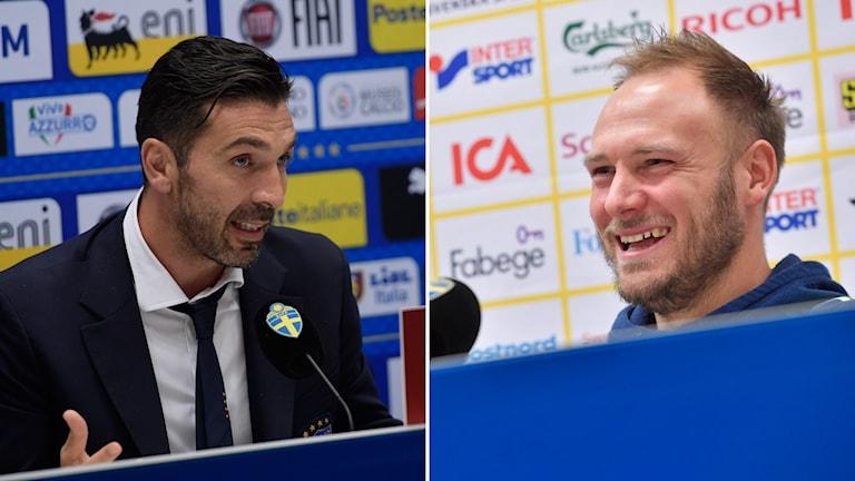 Italiens lagkapten Gianluigi Buffon och Sveriges dito  Andreas Granqvist under respektive lands presskonferens inför VM-kvalmatchen ikväll på Friends Arena.