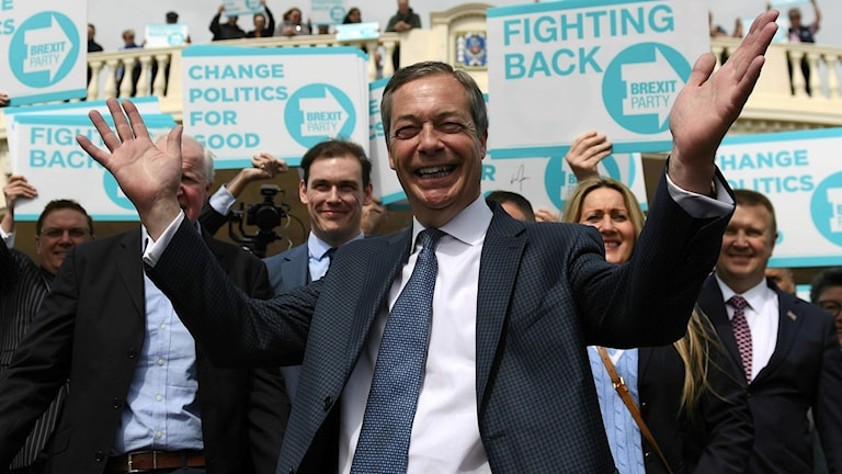 Nigel Farage under demonstration i Essex, England.