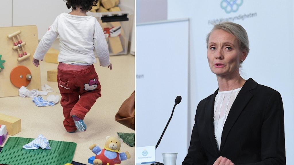 Till vänster barn på förskola. Till höger: Kvinna i kavaj på presskonferens.