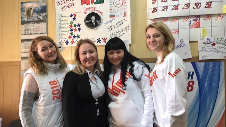 Aljona Kumarova, Jekaterina Petina, Anna Sviridova och Valerija Kurgina arbetar alla aktivt för att Vladimir Putin ska bli återvald som Rysslands president.