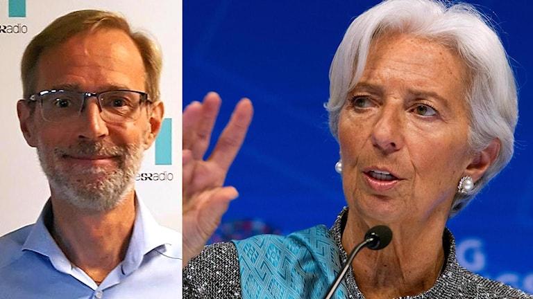 Delad bild: Vänster bild på ECB-logga och till höger bild på man som tittar rakt in i kameran (Robert Bergqvist, SEB) framför P1-morgon loggan.
